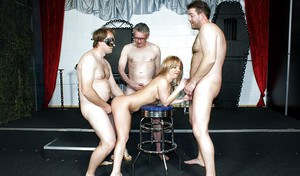 Slutty cutie gets glazed with jizz after a fervent gangbang with older guys
