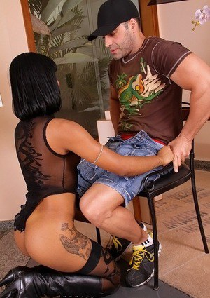 Dark-haired Latina teen Milla Albuquerque is busted by big bone