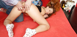 Gorgeous milf with fine breasts Olga Barz is fingered wildly