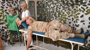European bitch clothed in military style Lucy Heart gets used