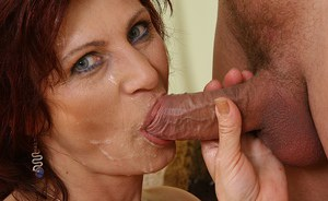 Awesome mature mom Wanda blowjobs dude and gets seed spray