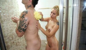 Skillful tattooed milf Lindsay Meadow works gently on this cock