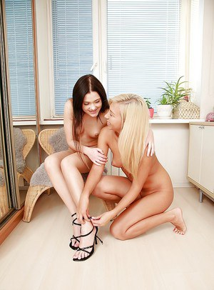 Adorable teen lesbians Nastie and Seren are obsessed with anal lust
