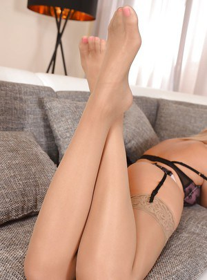 Fair-minded babe with long legs Charlyse Bella butters her bagel