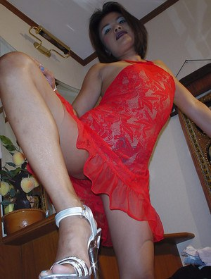 Admirable Asian babe in lingerie Faun removes her sexy red dress