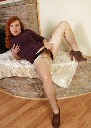 Mature girlie in high-heels Velma is a redhead tart with hairy cavern