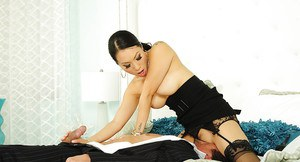 Amazingly sexy asian chick in nylons gets double penetrated by hung guys