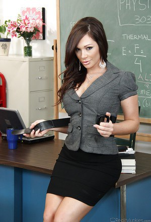 Seductive teacher in pantyhose Kimberly Kane stripping in the class  1236171