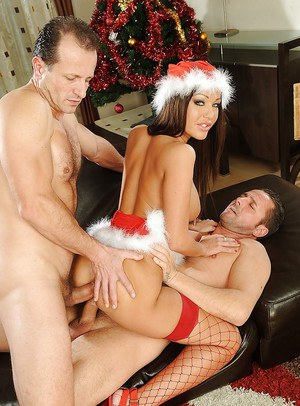 Stunning european X-mas lassie has some DP fun with two hung guys