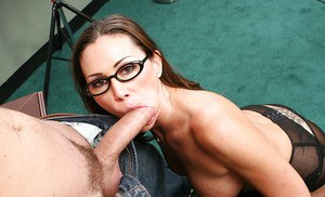Big busted office MILF in glasses and stockings gets fucked hard on her desk
