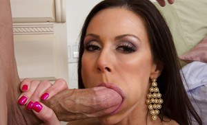 Ravishing brunette MILF gets woken up with a thick cock in her mouth