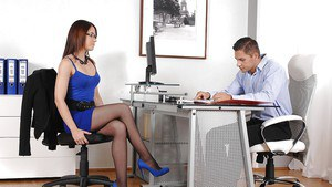 Terrific office girl in pantyhose Minnie Manga does foot fetish show