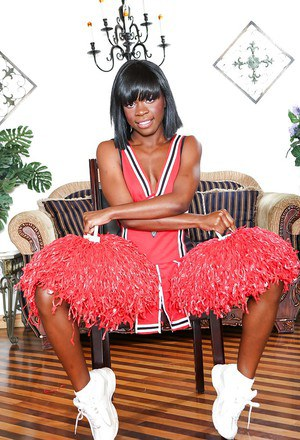Sophisticated cheerleader babe has a sharp tits and dark pussy to fuck