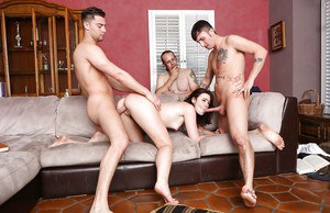 Wild gangbang with wild blowjobs and cumshots looks thoroughly intense