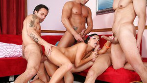 Teen brunette chick in the hardcore gangbang groupsex with her ex bfs.