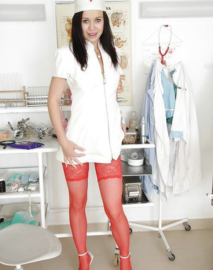 European nurse in sexy uniform Emma Pearl shows the depths of her hole