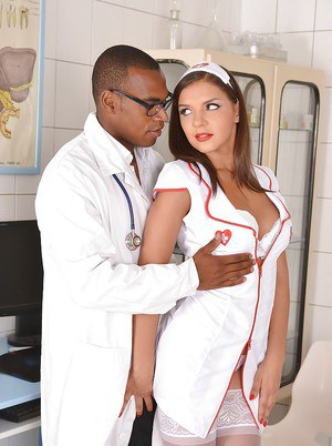 Super hot nurse Henessy meets black doctor and fucks him in the office