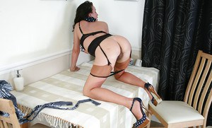 Milf babe Marlyn is doing all kinds of naughty stuff in her sexy stockings