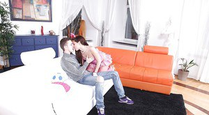 Incredible teen with sexy legs Alisia is sucking a hard cock