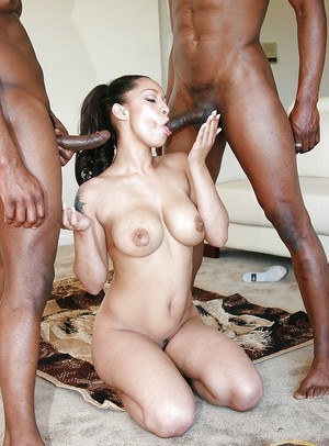 Ebony milf Jazmine Cashmere in the hottest threesome groupsex scene