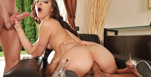 Skinny chick Amirah Adara in a hot threesome sex session