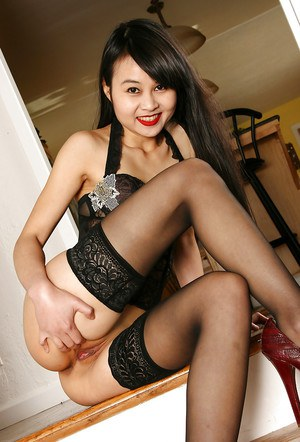Amateur Asian brunette babe Angel in stockings and high heels
