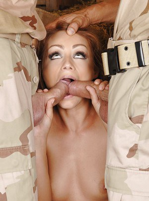 Gorgeous milf Sophie Lynx fucked by two guys in camouflage uniform