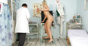 Shaved pussy of big tits slut Lilith Lee is checked by her doctor