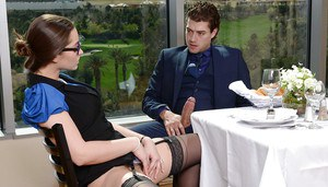 Sexy babe in glasses and stockings Dani Daniels gets a sperm