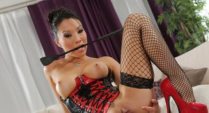 Asian babe Asa Akira is posing in her fabulous stockings outfit