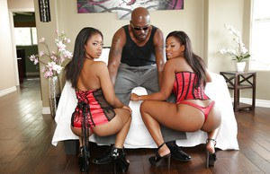 Big tits ebony ladies are taking part in a wild threesome sex party
