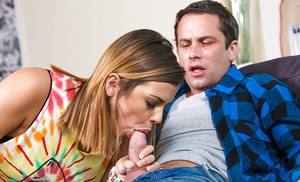 Keisha Grey trying to please her boyfriend with a deep blowjob