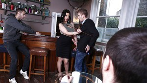Office babe Aletta Ocean is pleasing her client with an blowjob