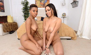 Ebony chicks Bethany Benz and Bria Maria in a hot threesome sex