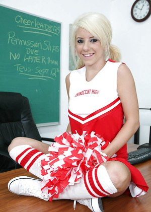 Blonde teen Tessa Taylor shows big tits in cheerleader uniform
