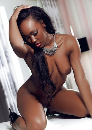 Nasty ebony babe Lovelyn is a brunette centerfold model with huge ass