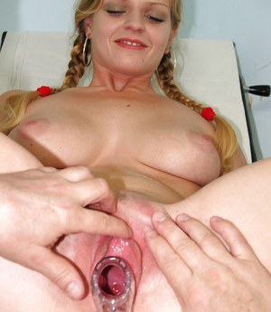 Fetish lover Jenny has her cute pink pussy fingered and spread