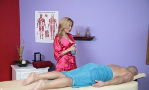 Bright Latina August Night giving a blowjob after a hot massage