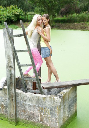 Victoria and Connie have a lesbian outdoor kissing and humping
