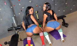 Chanell Heart and Ericka Liu spreading asses during a hard workout