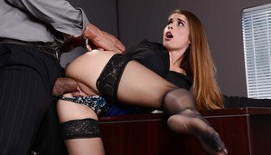 Cute brunette babe Bunny gets pussy fucked on the desk in the office
