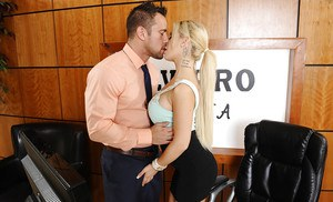 Huge tit blonde babe Bibi gives her boss a blowjob in the office