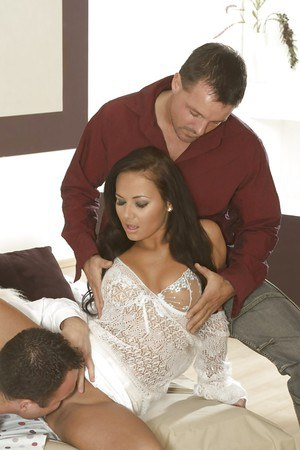 Big tit brunette Nataly fucked by two hardcore european cocks