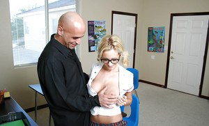 Pretty blonde babe in glasses Hillary giving a deep blowjob