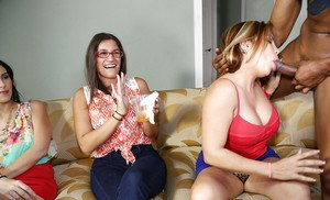 Watch these stunning ladies having a blowjob fest in their office