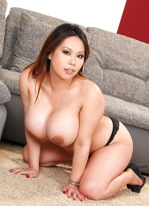 Asian fatty with huge tits and tight pussy spreading her legs