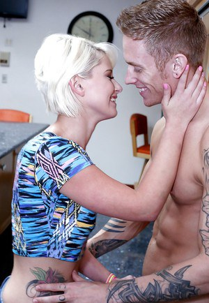 Sexy blonde wife Dani hardcore pussy and mouth fucked on the bed