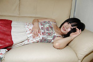 Brunette asian teen Haruka spreading her legs and pussy too