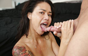 Cute asian bitch Dana gives a sloppy and wet blowjob to that cock