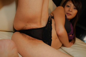 Asian brunette Kazumi wants to show her awesome pussy and ass